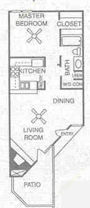 675 sq. ft. A2 floor plan