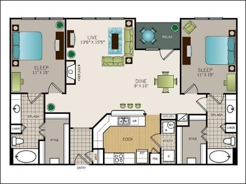 1,342 sq. ft. to 1,383 sq. ft. floor plan