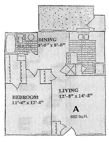 662 sq. ft. A floor plan