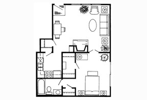 813 sq. ft. A floor plan