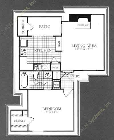 574 sq. ft. A1A floor plan