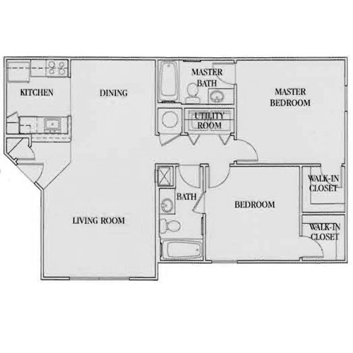 943 sq. ft. 60% floor plan