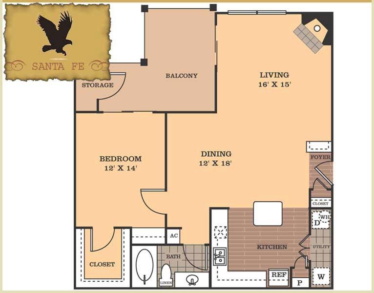 971 sq. ft. Santa Fe floor plan
