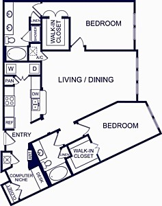 1,400 sq. ft. PAMPLONA floor plan