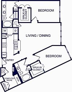 1,400 sq. ft. Pamplona floor plan