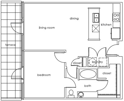 765 sq. ft. 1407 J floor plan