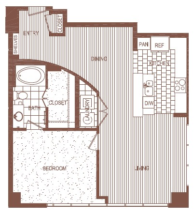 939 sq. ft. PH 2 floor plan
