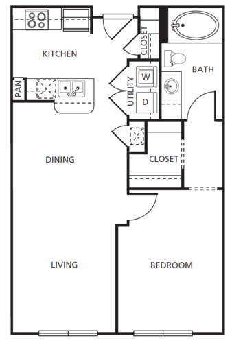 721 sq. ft. A1 floor plan