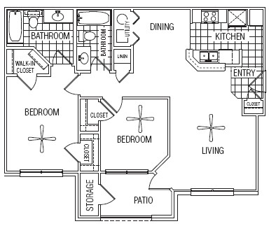 992 sq. ft. 60% floor plan