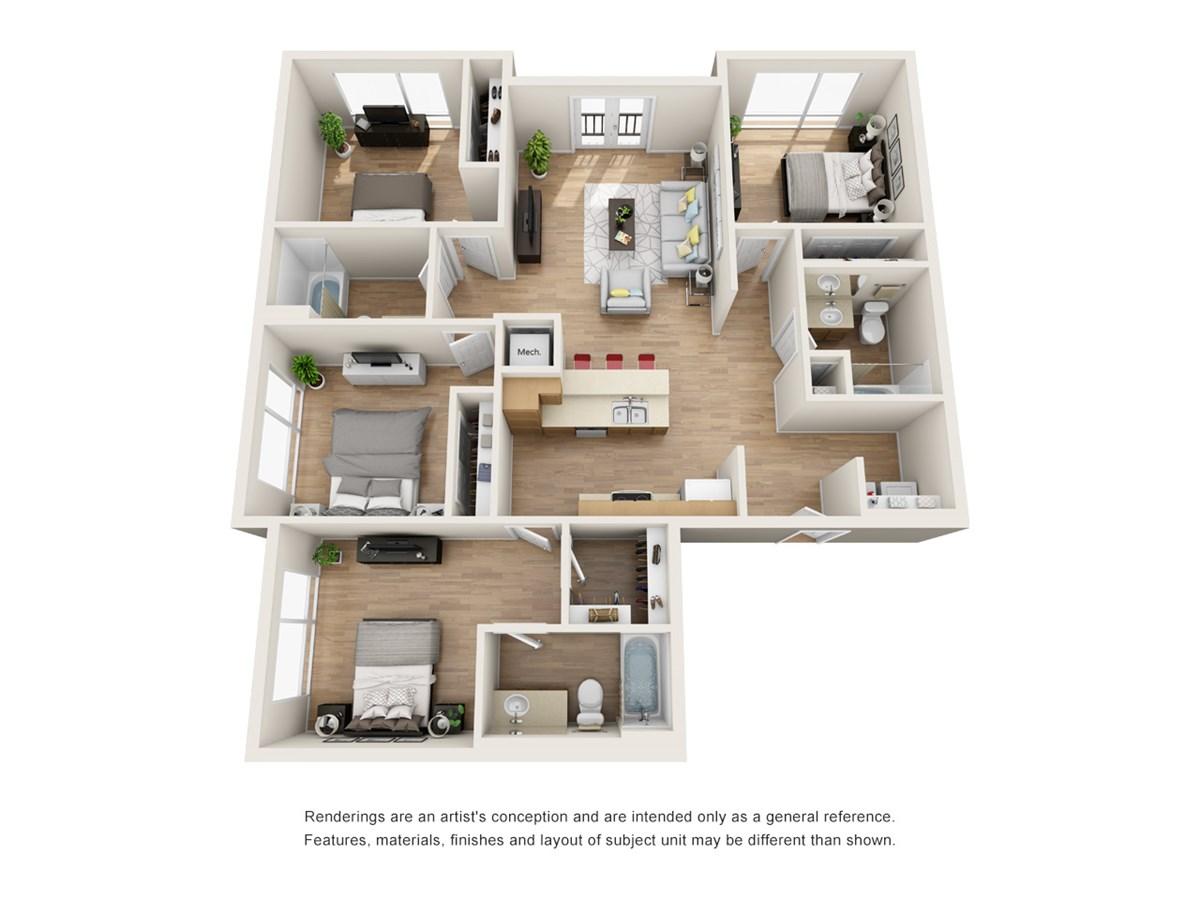 1,478 sq. ft. D5 floor plan