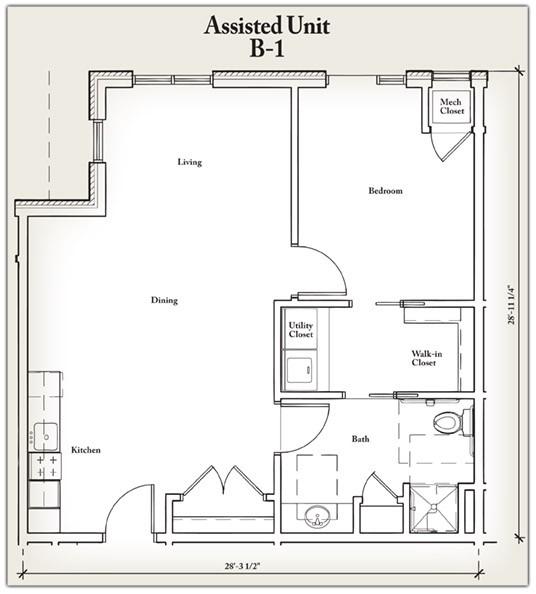 772 sq. ft. B1 floor plan
