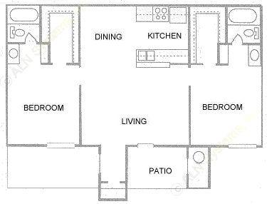 877 sq. ft. floor plan