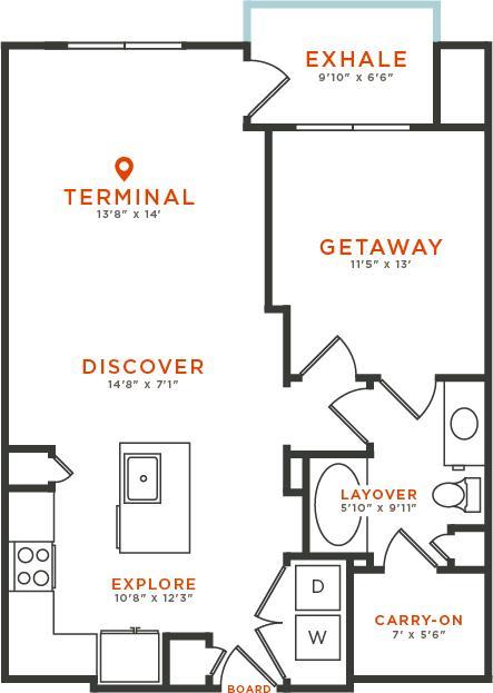 837 sq. ft. A4 floor plan