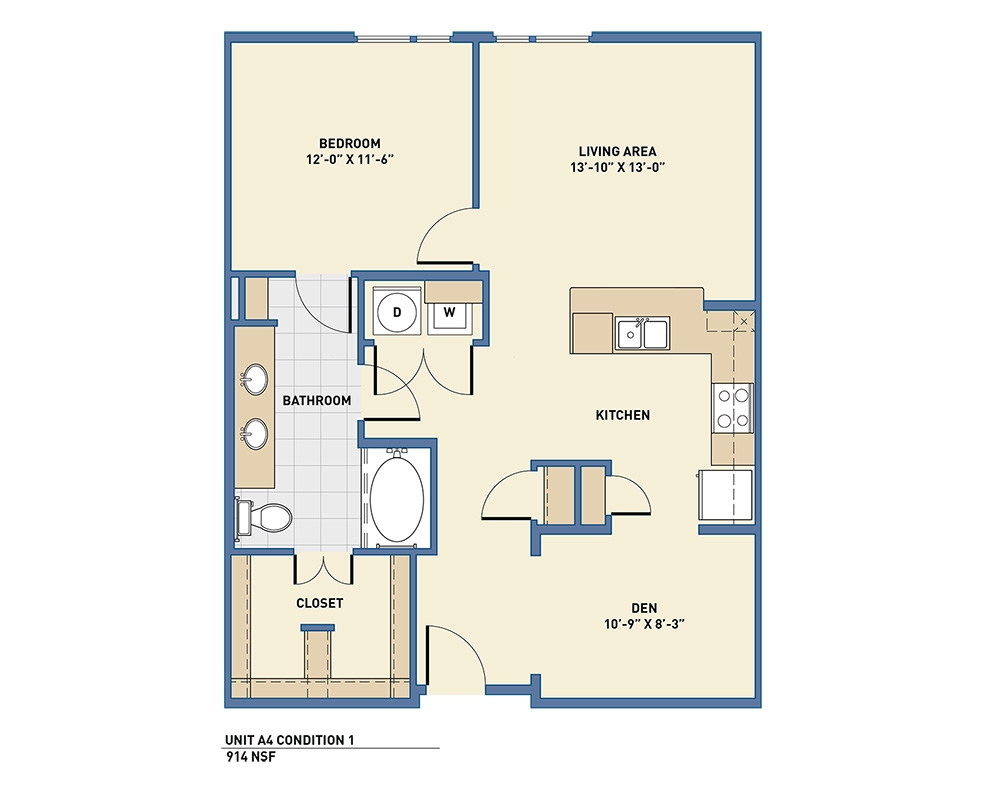 914 sq. ft. to 991 sq. ft. A4 floor plan