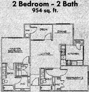 954 sq. ft. 60% floor plan