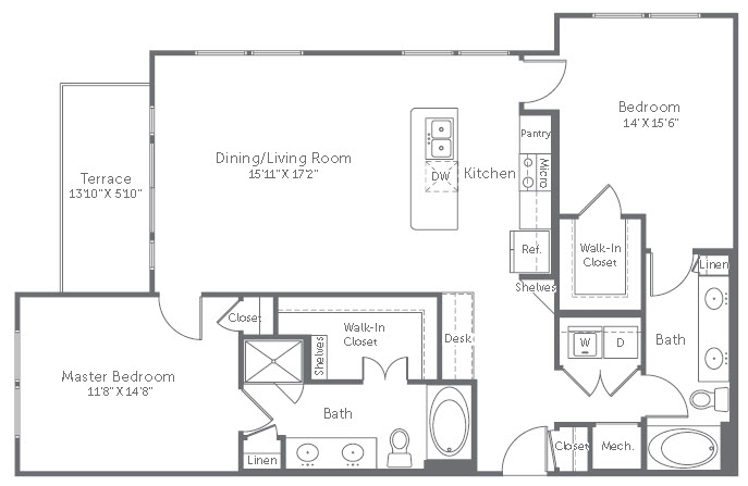 1,260 sq. ft. B5 floor plan