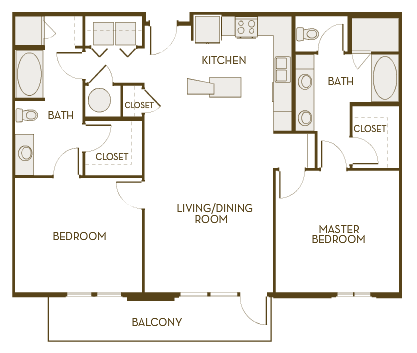 1,300 sq. ft. B2H floor plan