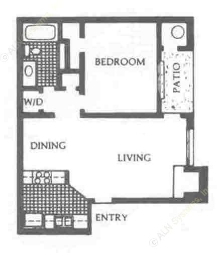 650 sq. ft. DW/UP floor plan