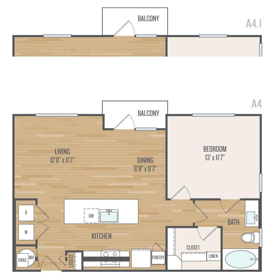 795 sq. ft. A4 floor plan