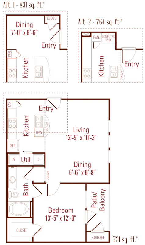 731 sq. ft. to 831 sq. ft. Cedar floor plan