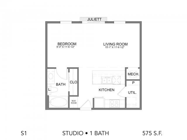 575 sq. ft. S1 floor plan