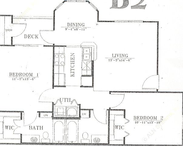 940 sq. ft. B2 floor plan