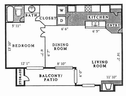 735 sq. ft. A4 PH B floor plan