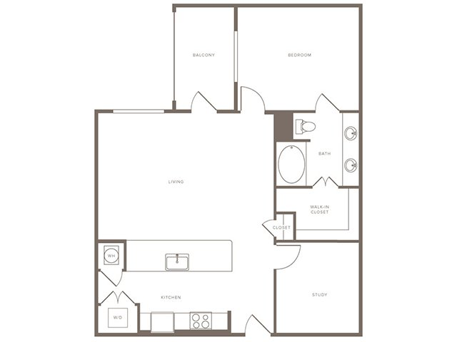 1,017 sq. ft. A14S floor plan