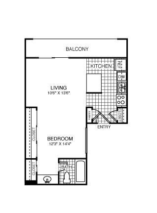 465 sq. ft. Chicago floor plan