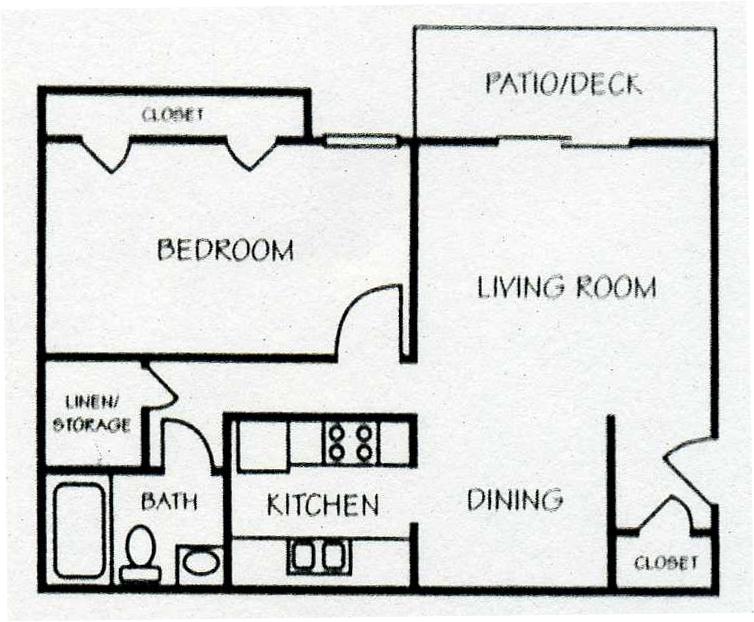 682 sq. ft. A-1 floor plan