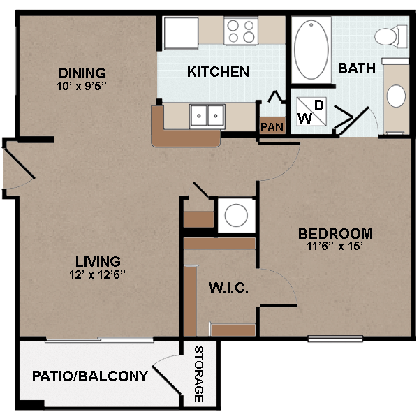 740 sq. ft. A2-60% floor plan