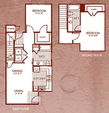1,033 sq. ft. B2/60 floor plan