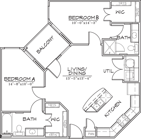 886 sq. ft. B1-4 floor plan