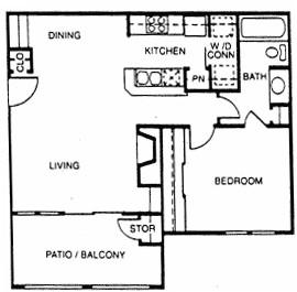 654 sq. ft. C floor plan