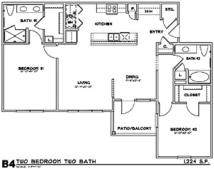 1,224 sq. ft. B4G floor plan