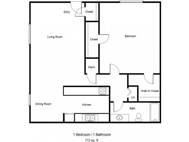 712 sq. ft. 30% floor plan