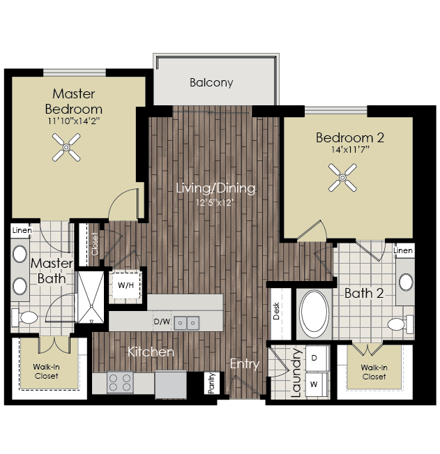 1,167 sq. ft. B1 floor plan