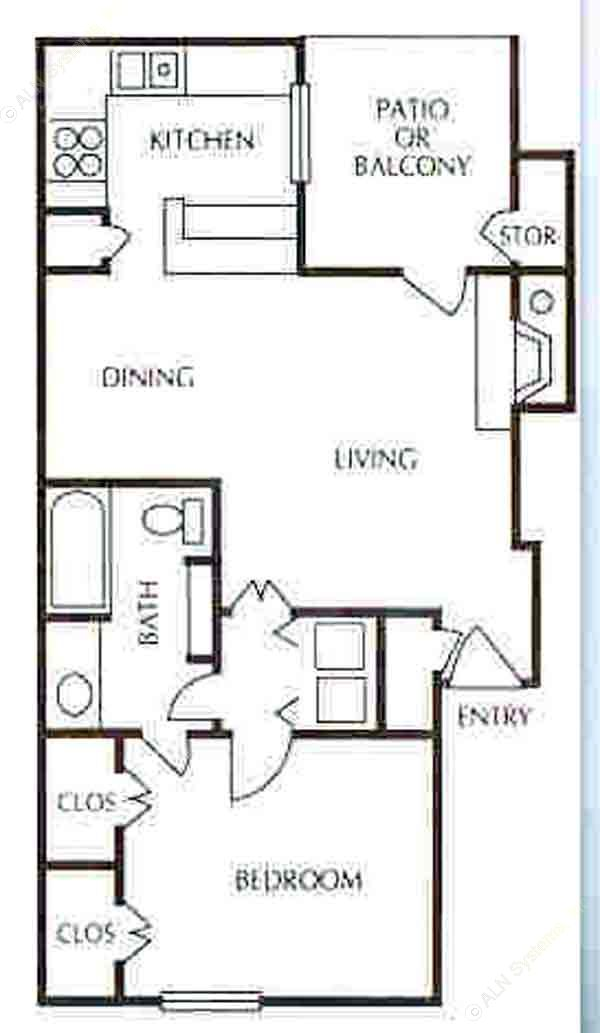 725 sq. ft. A-4 floor plan