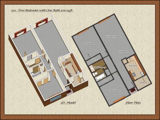 1,011 sq. ft. floor plan