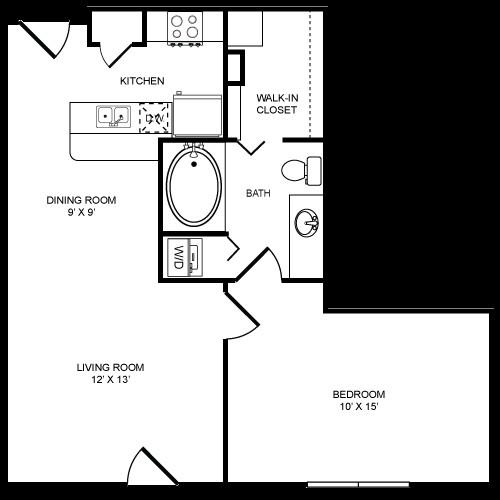 658 sq. ft. 1x1S floor plan