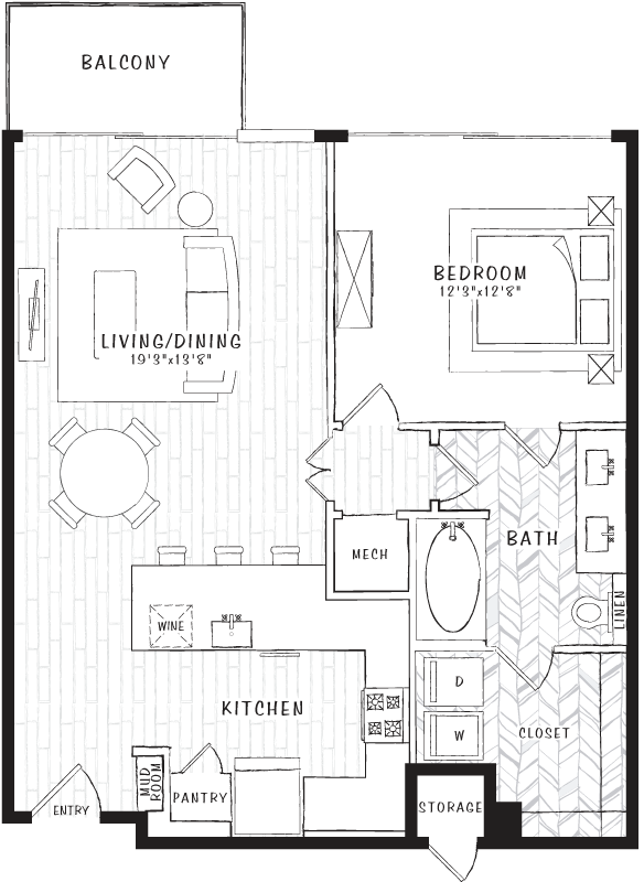 870 sq. ft. A7 floor plan