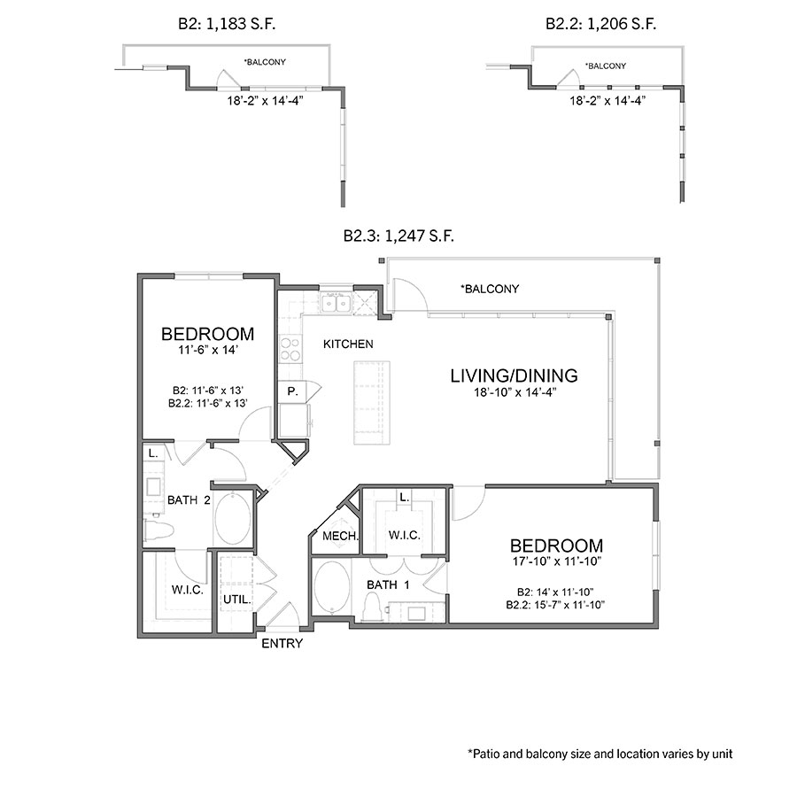 1,183 sq. ft. to 1,247 sq. ft. B2 floor plan