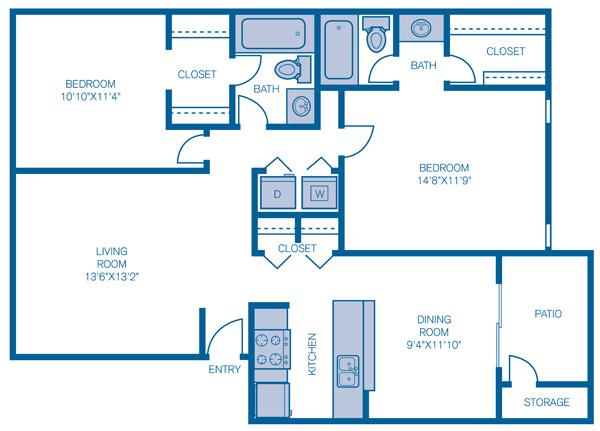 975 sq. ft. Buckingham floor plan