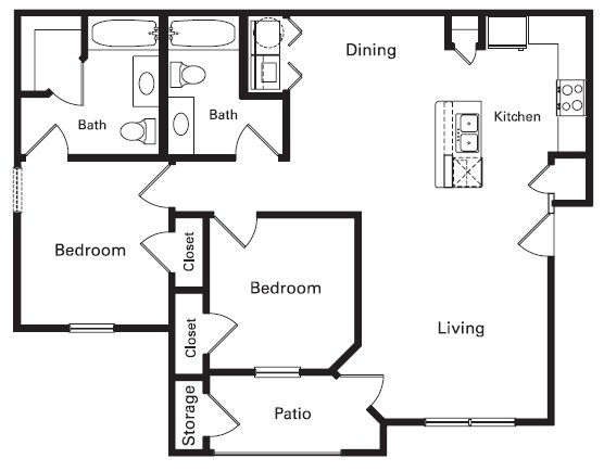 1,000 sq. ft. PH II floor plan