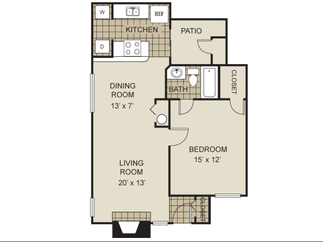 704 sq. ft. A1-D floor plan