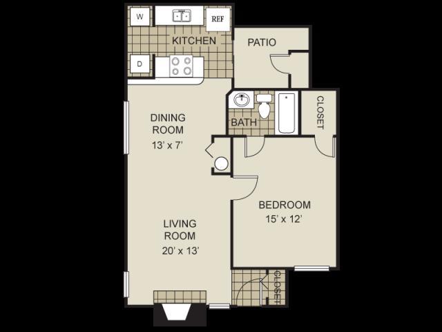 704 sq. ft. A1-D floor plan