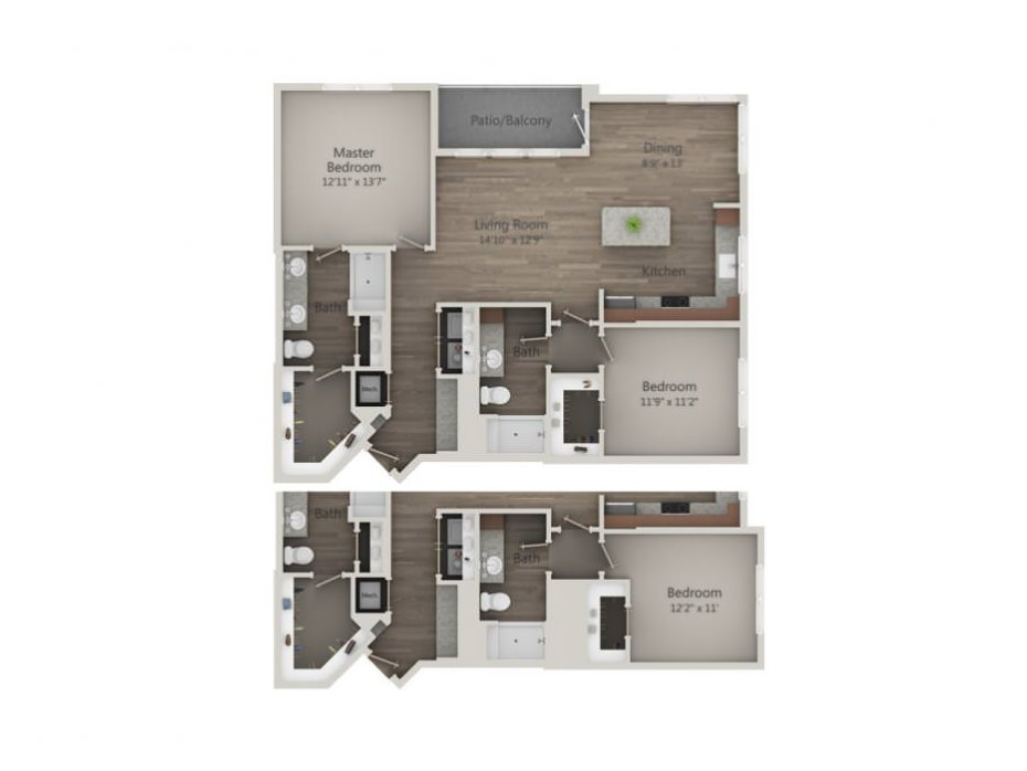 1,229 sq. ft. to 1,273 sq. ft. B4 floor plan
