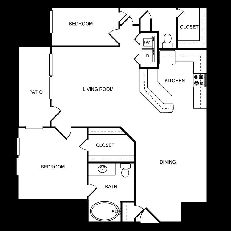 1,113 sq. ft. E floor plan