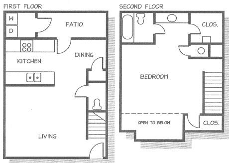 711 sq. ft. TH floor plan