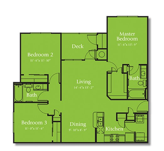 1,215 sq. ft. COLORADO/60 floor plan